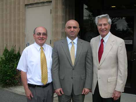 Ambassador Armen Martirosyan, center, with AMAA executive director Andy Torigian, right, and field director Dikran Youmshakian.