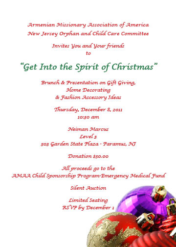 AMAA NJ Orphan & Child Care Brunch On December 8, 2011 to benefit Emergency Medical Needs of Children in Armenia