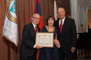 L to R - Honoree George R. Phillips, Esq., Joyce Philibosian Stein and Banquet Co-Chair Ken Kevorkian