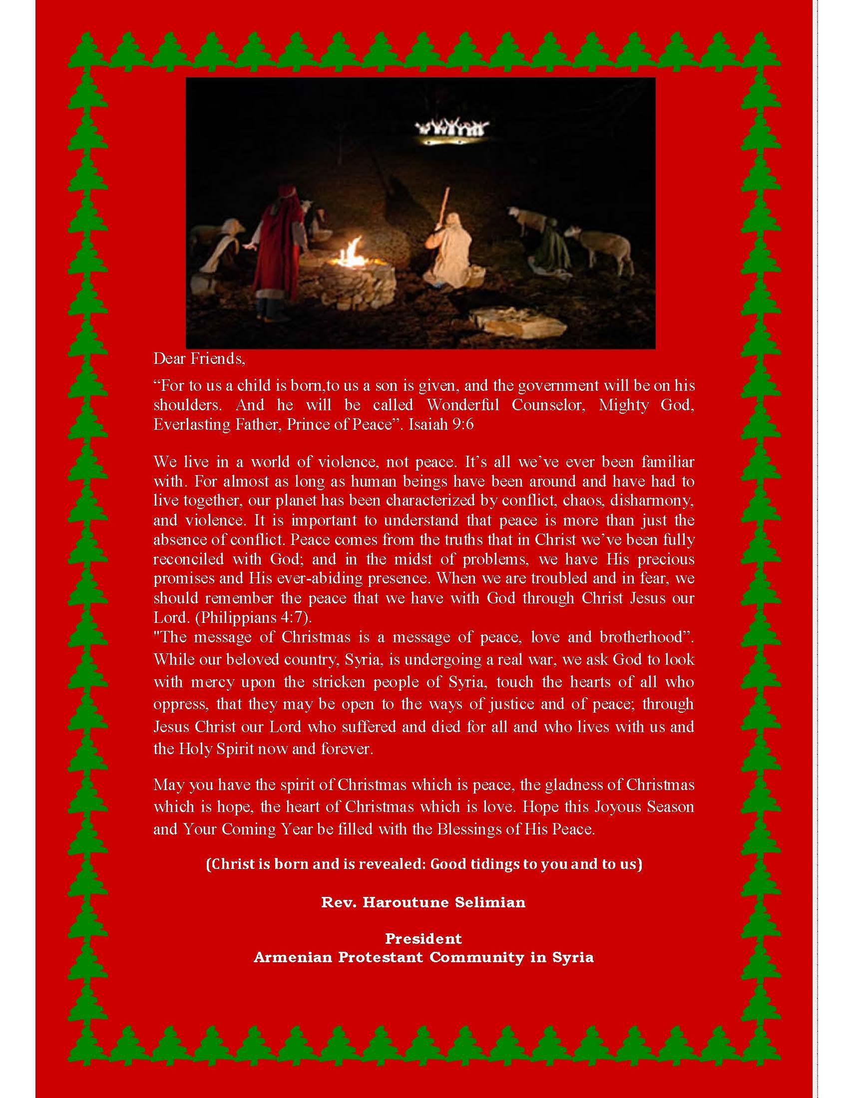 Christmas Greetings From Aleppo Syria Armenian Missionary